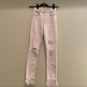 Zara Trafaluc High-Waisted Pink Fringe Jeans